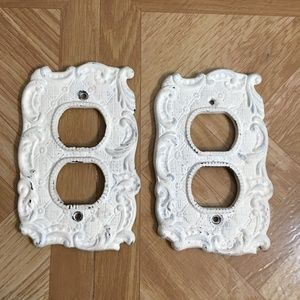 ANTHROPOLOGIE White Washed Cast Iron Outlet Cover